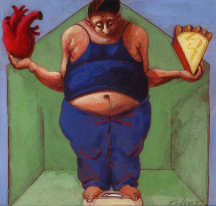 Image of overweight women balancing heart health and pie on a scale