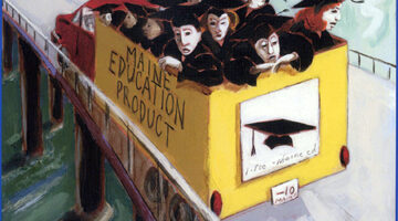 Image shows truck full of Maine graduates depicting them as a product.