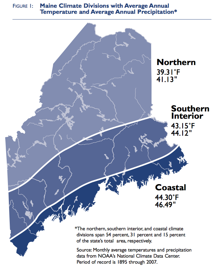 A map of Maine temperatures that shows a decrease in precipitation and temperature the further north and away from the coast that one travels.