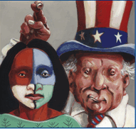 Image of Uncle Sam with his fingers crossed over an indigenous woman's head