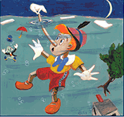 Image of Pinocchio under water with a polar bear on the tip of his nose