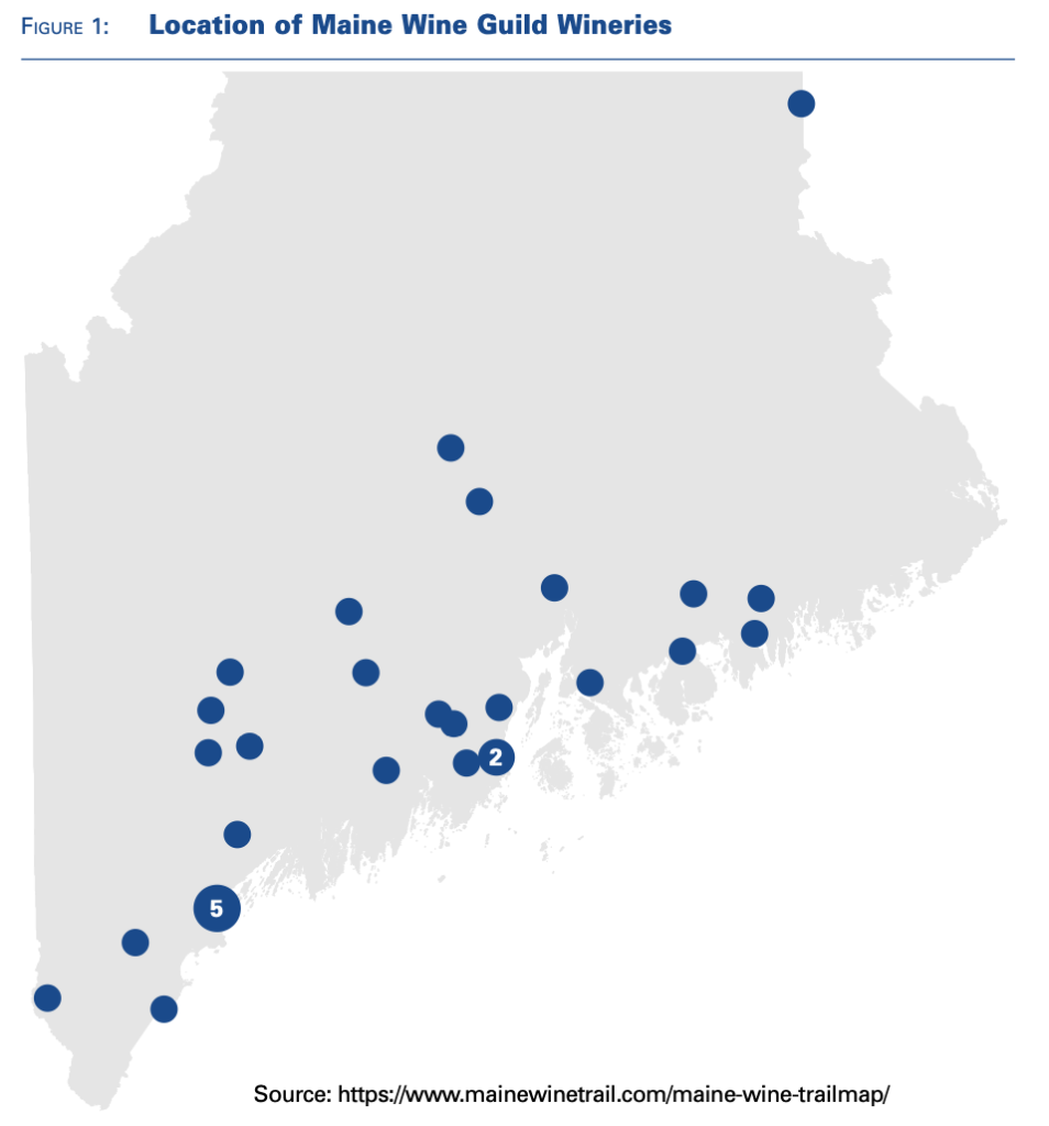 Map of Maine wine guild producers.