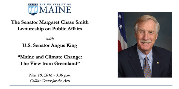 featured image for Senator Angus King Lecture Nov. 10