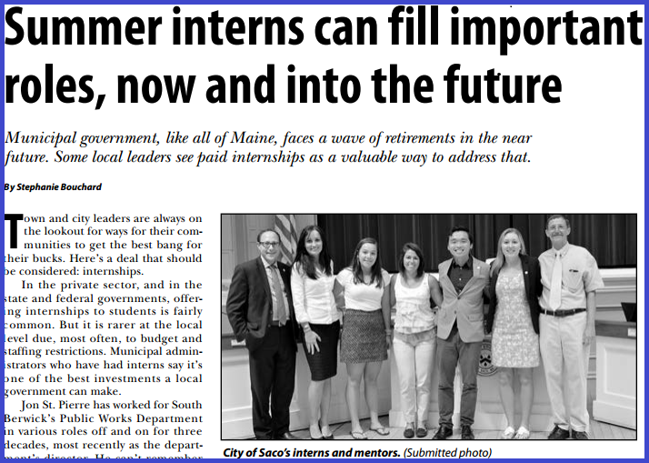 featured image for Summer Interns Add Value to Municipal Governments