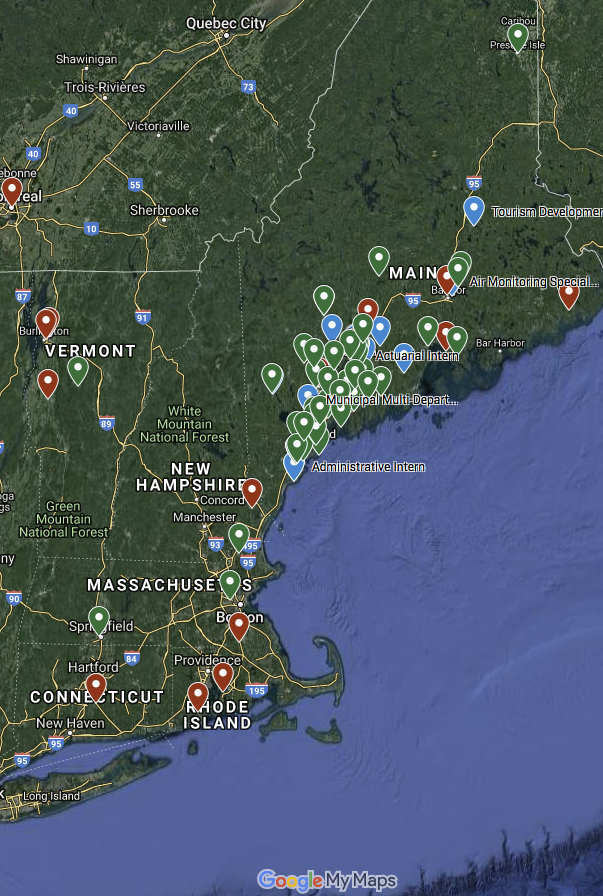 Map showing where interns go to school, their hometown, and their internship location