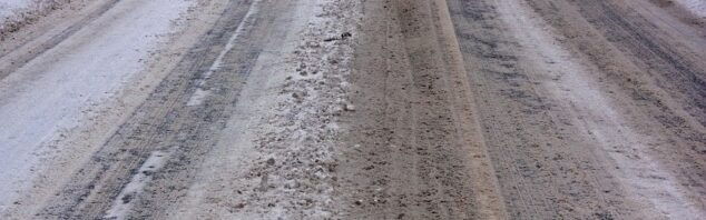 Image of icy road with salt