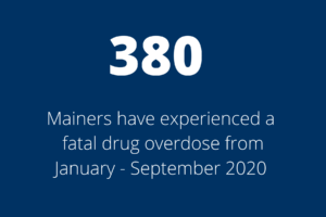 380 Mainers have experienced a fatal drug overdose from January - September 2020